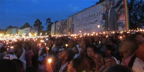 Meskel crowd with candles