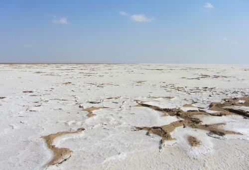 Danakil white desert salt water field